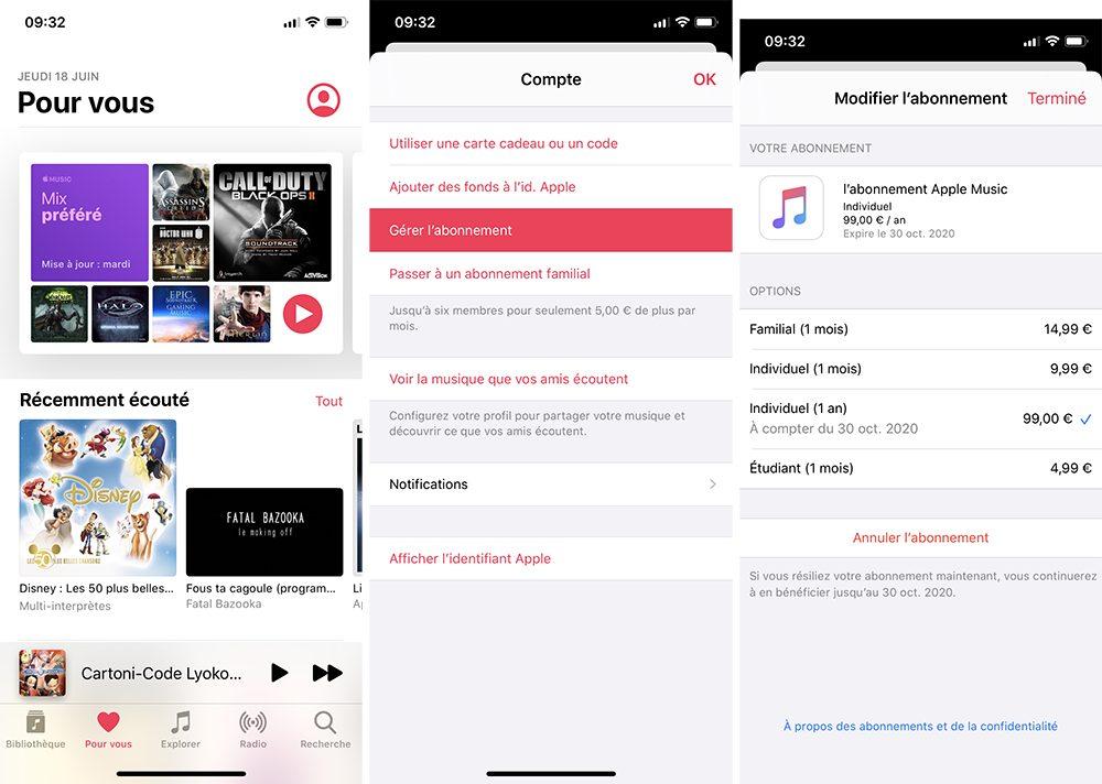 iphone musique abonnement Comment prendre ou résilier un abonnement comme Apple Music ou en achats intégrés