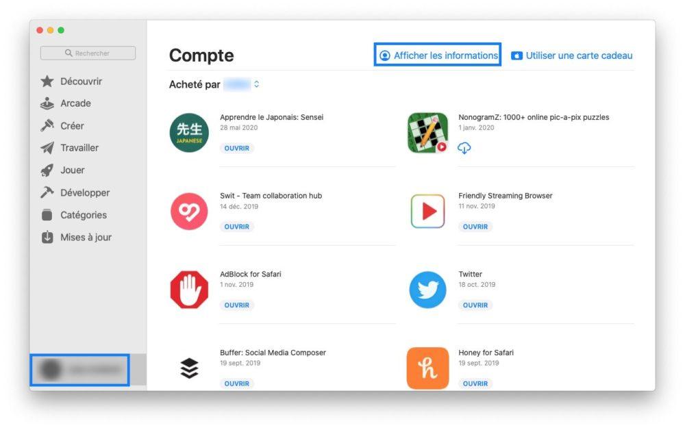 mac app store compte Comment prendre ou résilier un abonnement comme Apple Music ou en achats intégrés