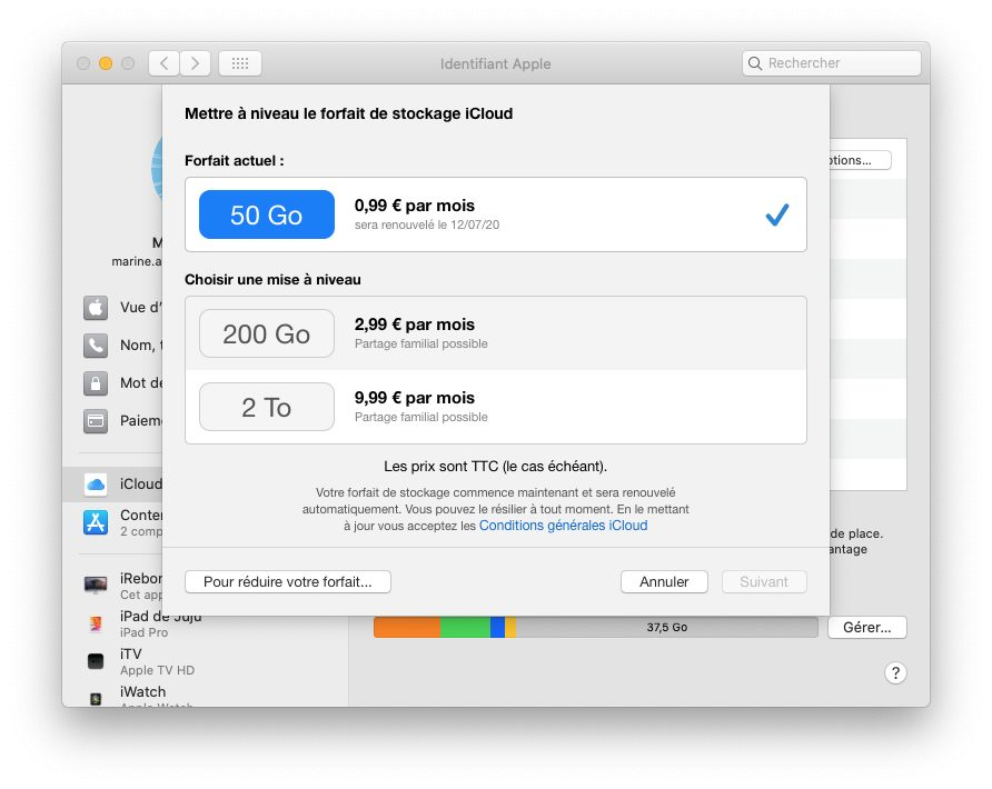 mac changer forfait stockage icloud Comment prendre ou résilier un abonnement comme Apple Music ou en achats intégrés