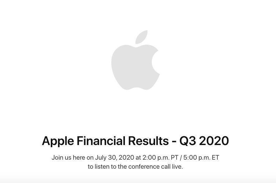 Resultats Financiers Apple Q3 2020 Les résultats financiers dApple pour le 3e trimestre 2020 seront publiés le 30 juillet