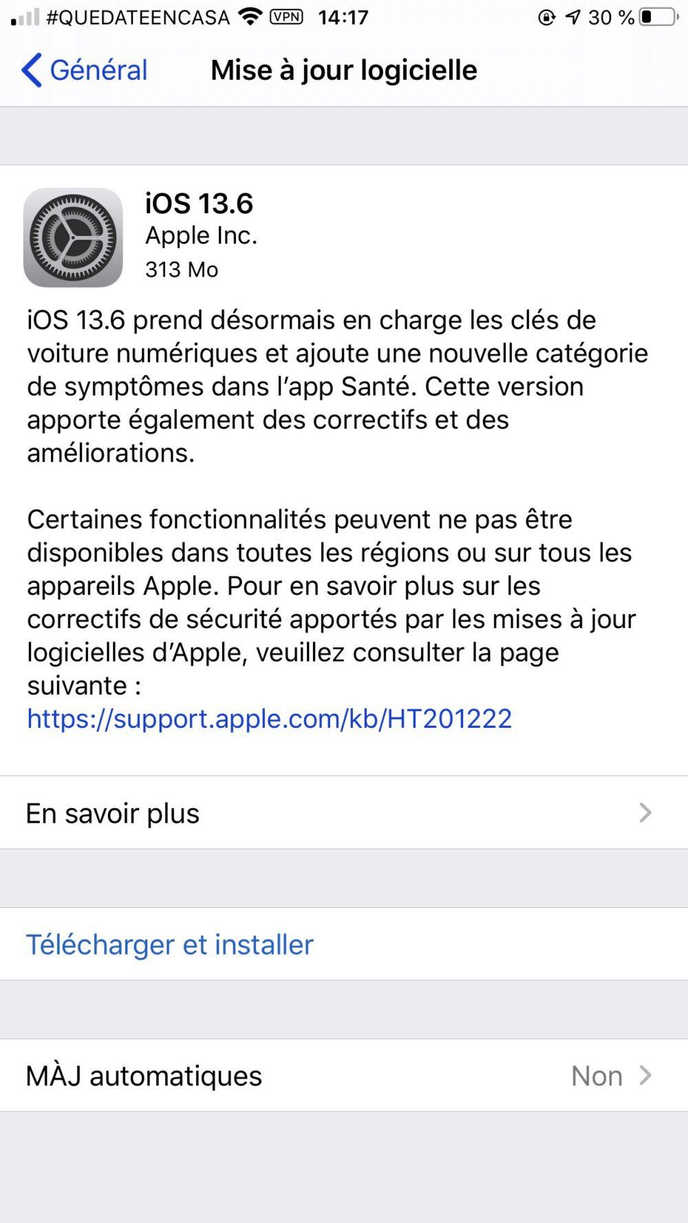 iOS 13.6 iPadOS 13.6 Version Finale iOS 13.6 et iPadOS 13.6 : la version finale est disponible au téléchargement