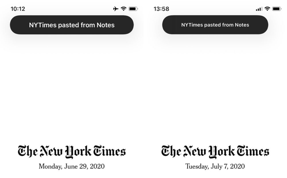 iOS 14 Beta 2 Presse Papier Quoi de neuf dans iOS 14 et iPadOS bêta 2 ? Voici la liste des nouveautés dénichées