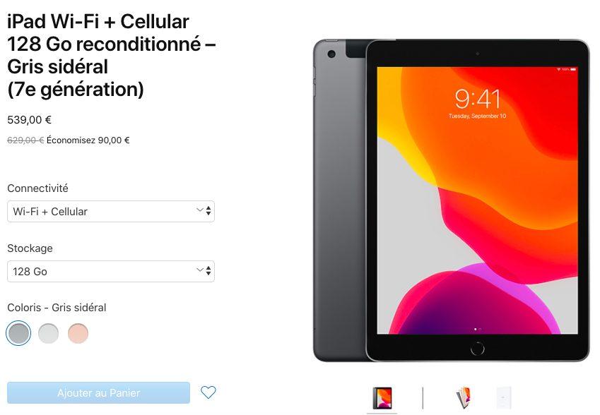 iPad 7 Reconditionne LiPad 7 reconditionné est désormais proposé en France