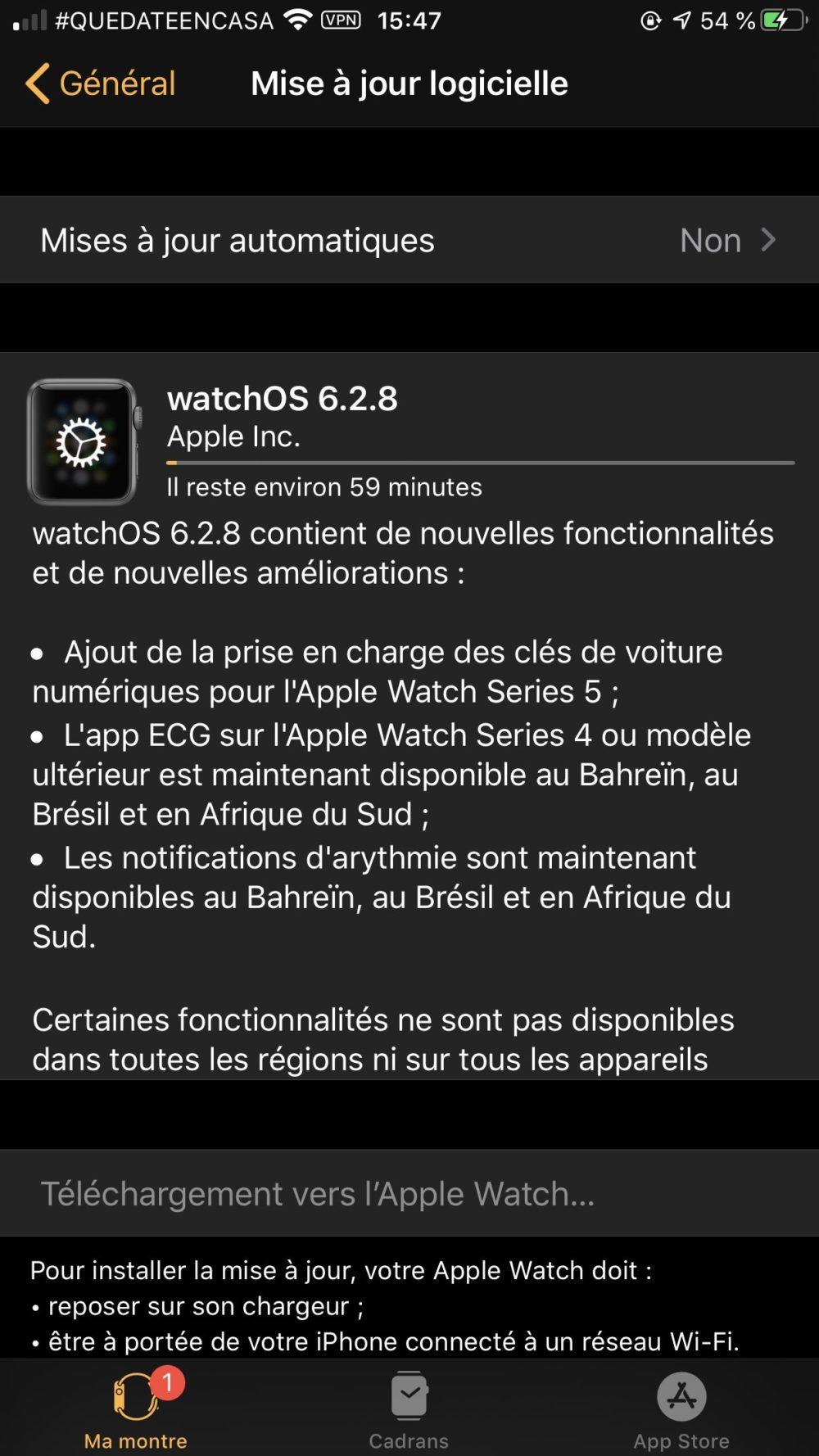 watchOS 6.2.8 La version finale de watchOS 6.2.8 est disponible sur lApple Watch