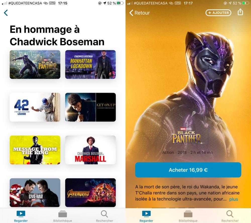 Chadwick Boseman Film Black Panther Mis en Avant Apple TV Apple « rend hommage » à lacteur Chadwick Boseman en mettant en avant ses films