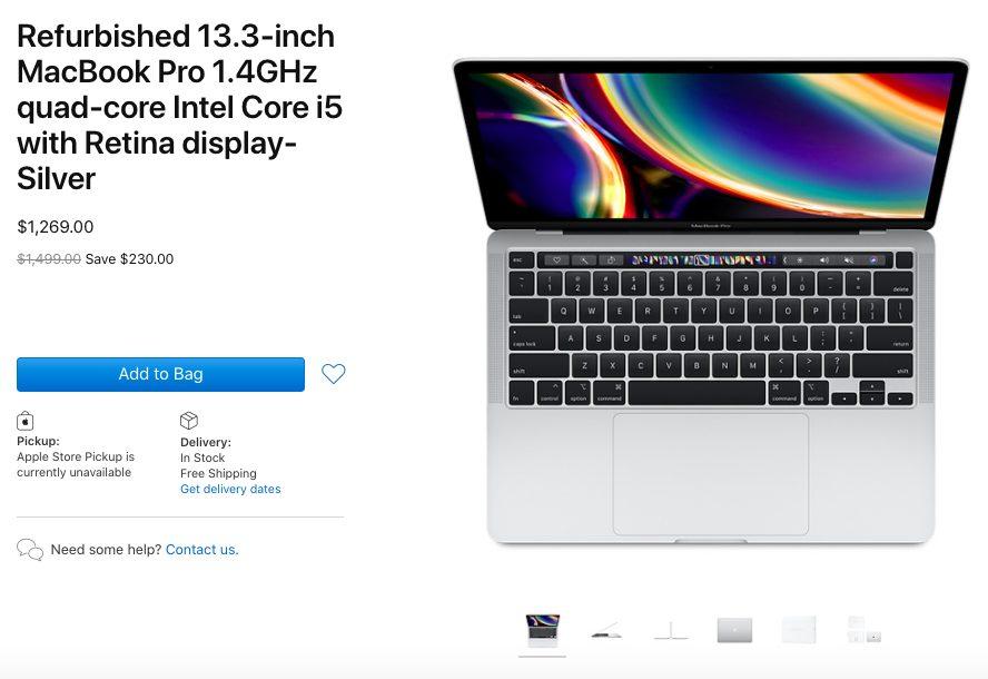 MacBook Pro 13 pouces 2020 reconditionnés Apple commence à vendre des MacBook Pro 13 pouces 2020 reconditionnés aux États Unis