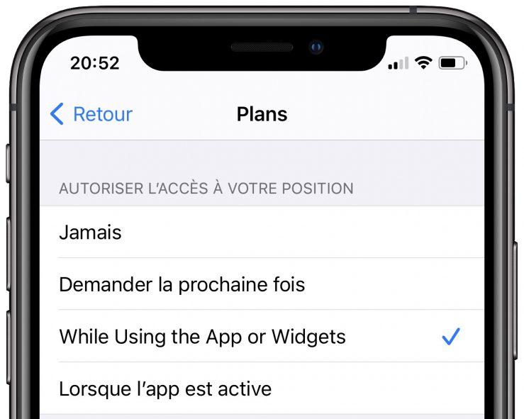 iOS 14 Beta 5 Autorisation Localisation Widgets iOS 14 et iPadOS 14 bêta 5 : la liste des nouveautés
