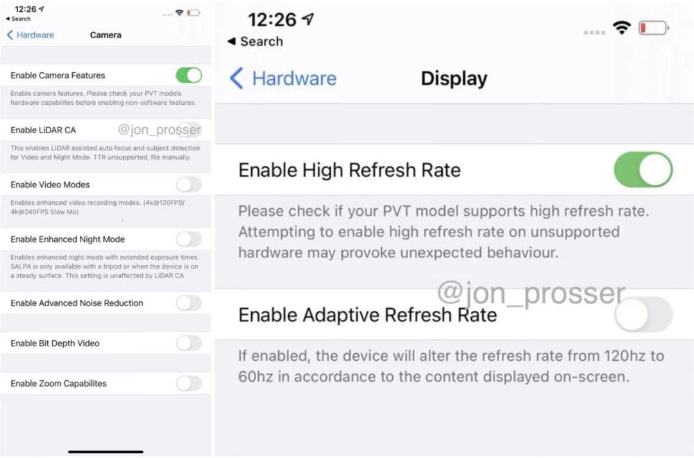 iPhone 12 Pro Max : des images prétendent montrer le scanner LiDAR, les réglages daffichage 120 Hz...