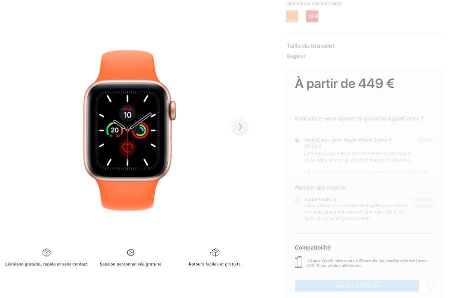 Apple Watch Series 5 rupture de Stock Septembre 2020 Apple Watch Series 5 : certains modèles sont indisponibles chez Apple, suggérant une sortie de la Series 6