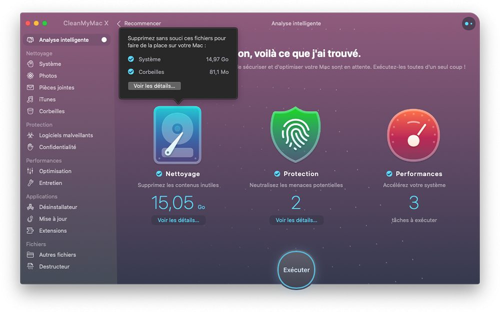 cleanmymac x analyse intelligente fin analyse executer Comment utiliser CleanMyMac X pour optimiser son Mac
