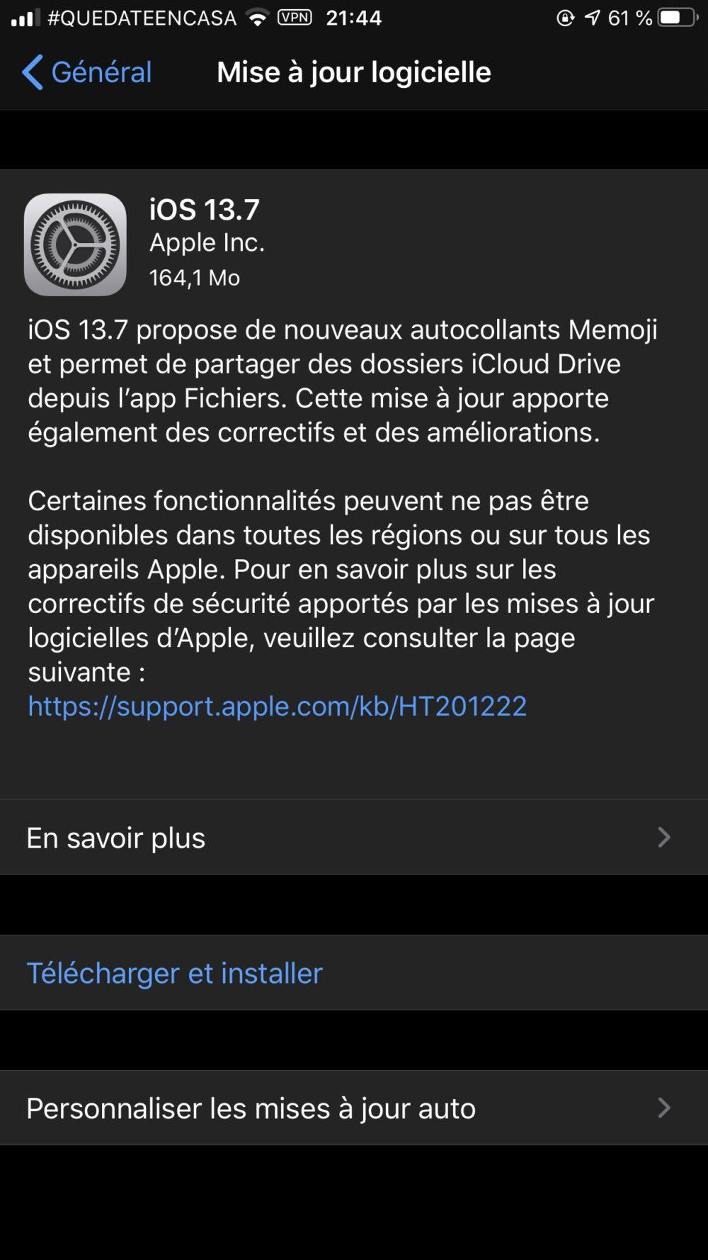 iOS 13.7 Apple lance iOS 13.7 : nouveau système de notifications COVID 19 intégré, nouveaux autocollants Memoji...