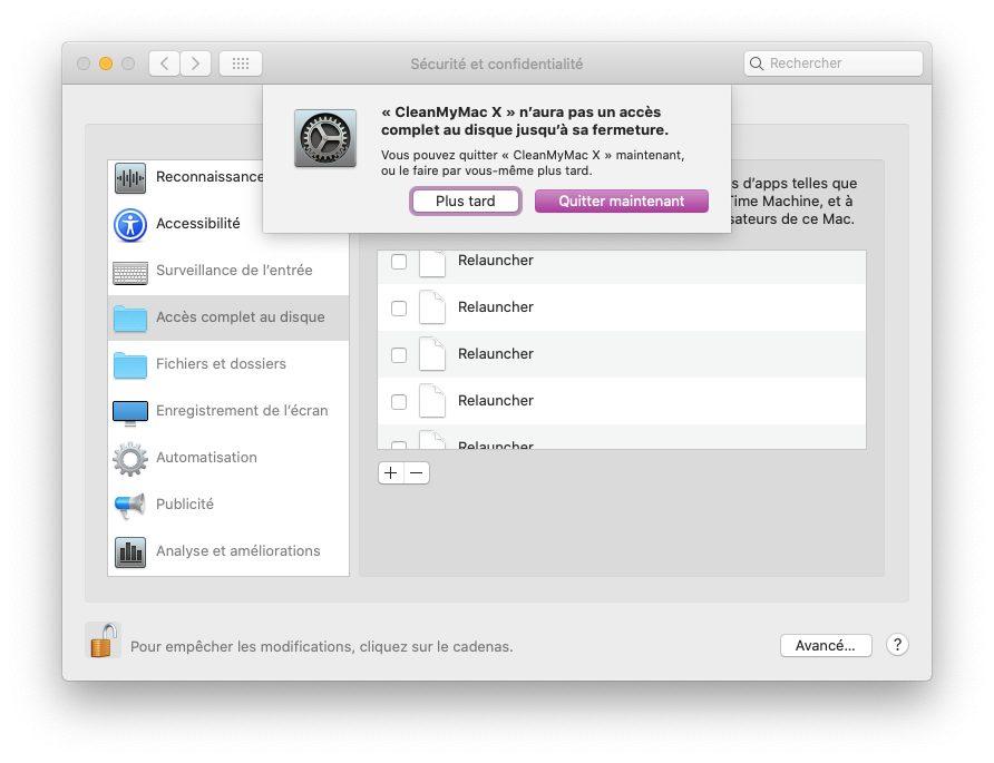 mac preferences confidentialite autoriser acces disque complet Comment utiliser CleanMyMac X pour optimiser son Mac