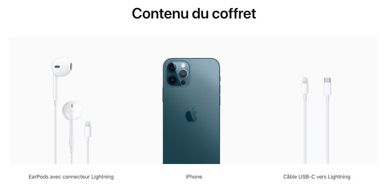 Contenu du coffret iPhone 12 France En France, les iPhone 12 sont livrés avec des écouteurs