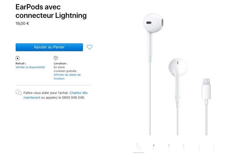 EarPods avec connecteur Lightning Les iPhone sont livrés sans écouteurs (sauf en France), Apple baisse le prix des EarPods