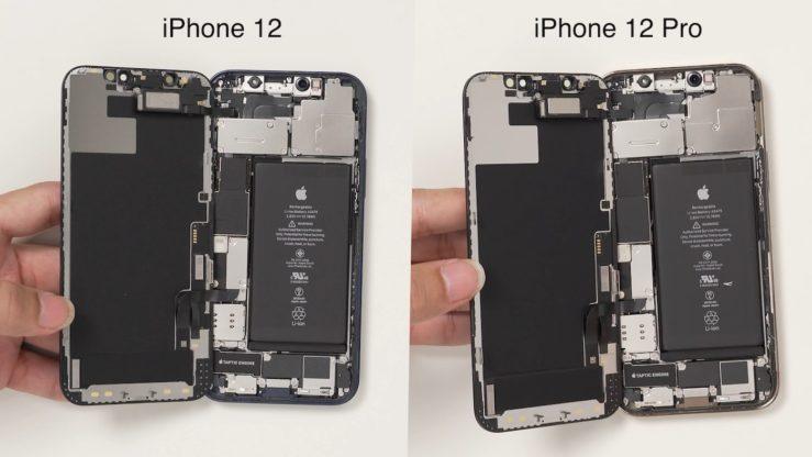 Interieur iPhone 12 et Interieur iPhone 12 Pro Les iPhone 12 et iPhone 12 Pro ont une batterie de la même capacité