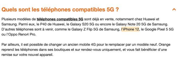 Orange iPhone 12 Compatible 5G Orange approuve que liPhone 12 sera bel et bien compatible avec la 5G