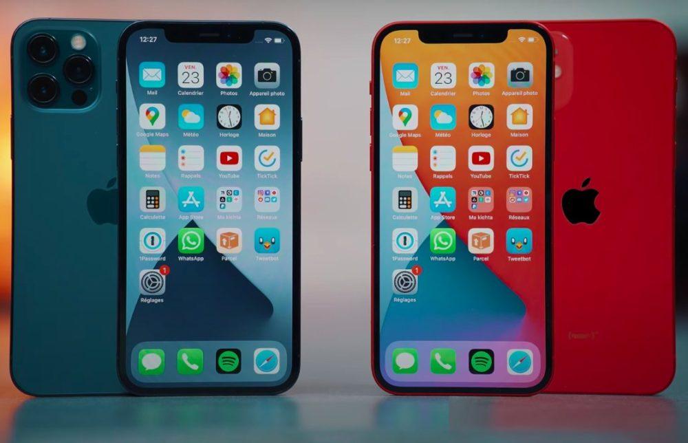 iPhone 12 Pro Bleu iPhone 12 Rouge Les iPhone 12 et iPhone 12 Pro ont une batterie de la même capacité