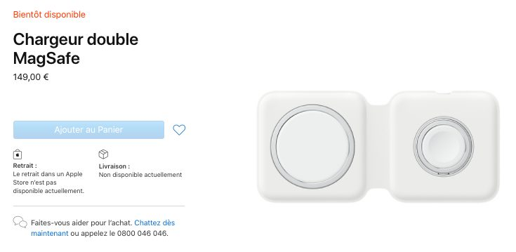 Apple Chargeur doubleMagSafe Apple vend le chargeur MagSafe Duo au prix de 149 euros en France