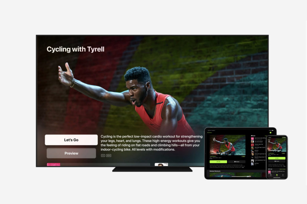 Apple Fitness Plus Apple TV iPad iPhone Cycling Apple Fitness+ est incompatible avec AirPlay