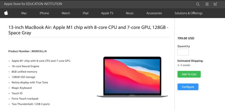 Apple MacBook Air M1 128 Go MacBook Air M1 : un modèle avec 128 Go de stockage fait son apparition