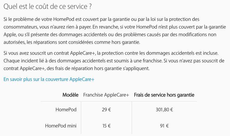 Prix Reparation du HomePod HomePod mini : Apple dévoile le prix de la réparation (presque le prix dun modèle neuf)
