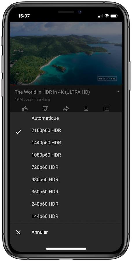 YouTube Video HDR iPhone 12 YouTube : une mise à jour ajoute le support du HDR sur les iPhone 12