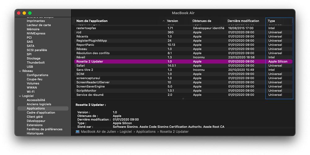 apple silicon m1 app optimisee information systeme Apple Silicon : reconnaître les apps Mac compatibles et optimisées avec les puces M1