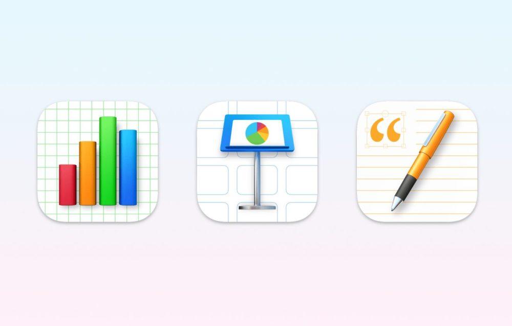 iWork Nouvelles Icones macOS Big Sur La suite iWork (Pages, Numbers, Keynote) change dicônes pour macOS Big Sur