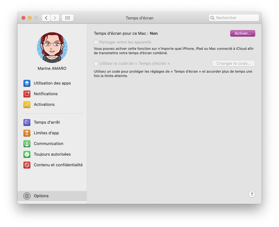 mac temps ecran options activer Comment activer et configurer le contrôle parental Temps d'écran inclut dans macOS