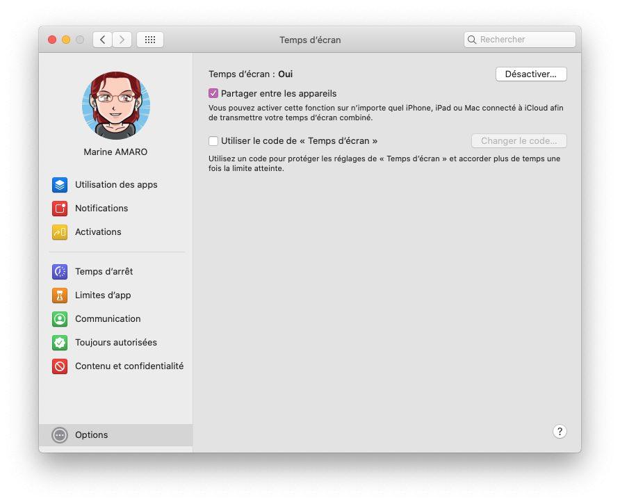 mac temps ecran options partager Comment activer et configurer le contrôle parental Temps d'écran inclut dans macOS