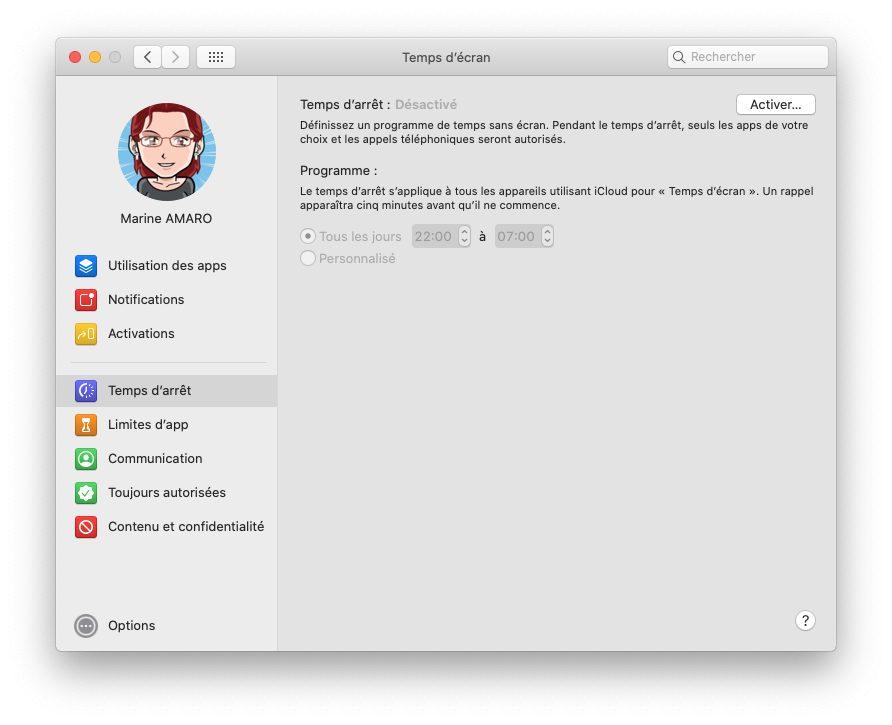 mac temps ecran temps arret Comment activer et configurer le contrôle parental Temps d'écran inclut dans macOS