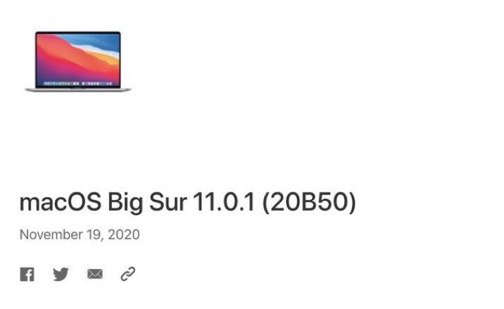 macOS Big Sur 11.0.1 Apple publie une nouvelle version de macOS Big Sur 11.0.1 pour certains utilisateurs