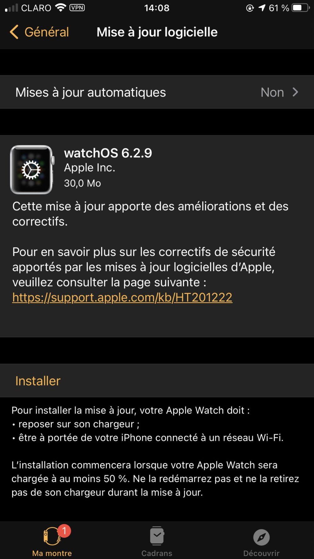 watchOS 6.2.9 watchOS 6.2.9 est disponible pour les anciennes Apple Watch