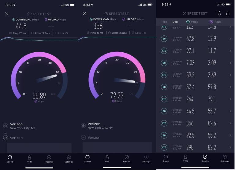PCMag Test iPhone 12 5G Verizon Aux États Unis, la 4G est plus rapide sur liPhone 12 que la 5G chez Verizon