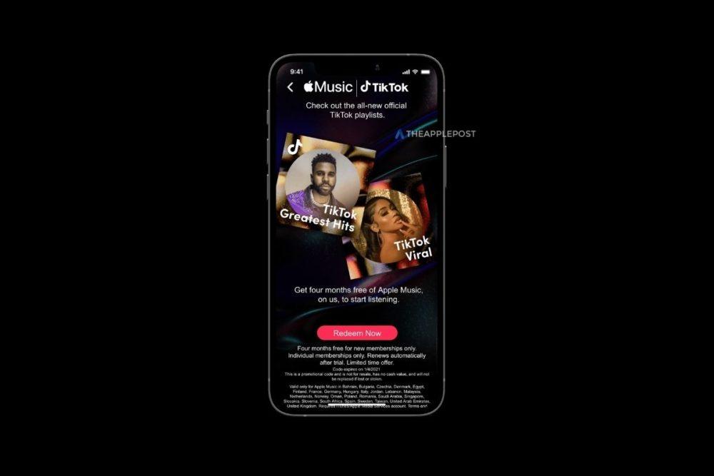 TikTok Apple Music 4 Mois Offerts Apple Music : Apple offre 4 mois gratuits aux utilisateurs de TikTok