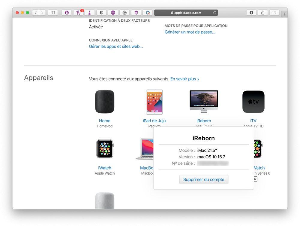 apple id supprimer compte appareil Comment faire si vous avez déjà 5 ordinateurs autorisés sur iTunes / Musique