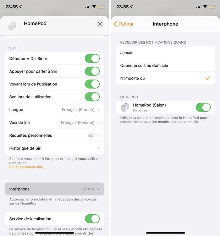 iphone maison homepod reglages partiel interphone Comment utiliser lInterphone avec les HomePod, iPhone, CarPlay, Apple Watch et les autres iDevices