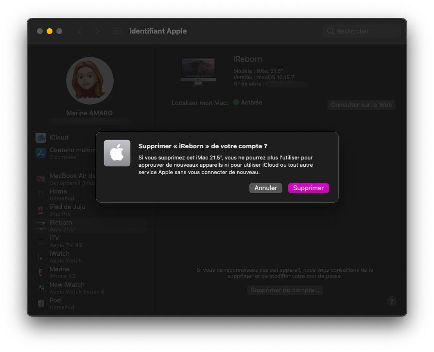 mac identifiant apple supprimer compte appareil Comment faire si vous avez déjà 5 ordinateurs autorisés sur iTunes / Musique