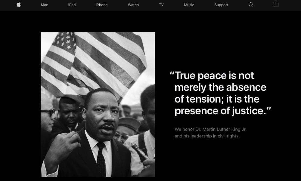 Martin Luther King App Store Apple honore Martin Luther King, Jr. sur la page daccueil de son site américain