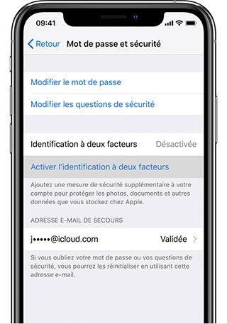 iphone activer identification deux facteurs Comment activer l'identification à deux facteurs pour l'identifiantApple