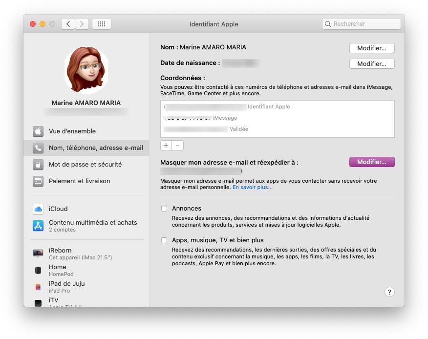 mac reglages reexpedier Comment utiliser le service Connexion avec Apple