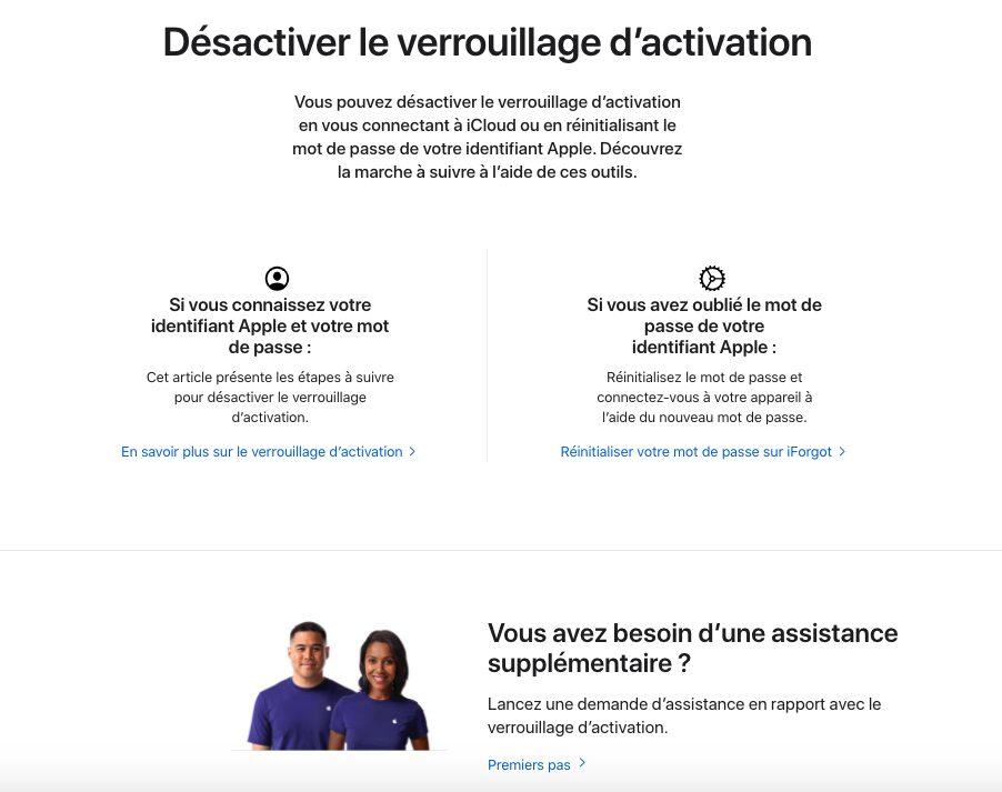 Desactiver le Verrouillage Dactivation Il est désormais possible de désactiver le verrouillage dactivation depuis le site dApple
