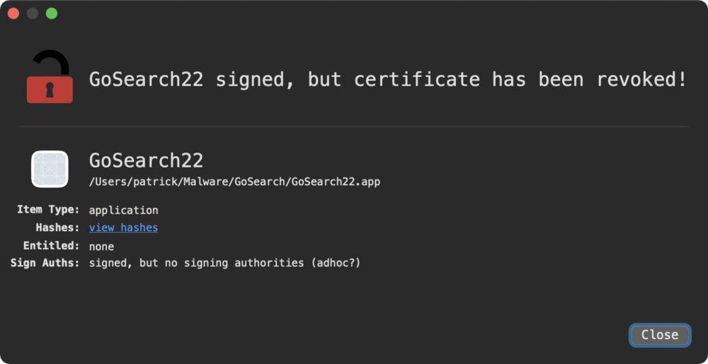 GoSearch22 Adware Mac M1 Revoked Le premier malware « optimisé » pour les Mac M1 (Apple Silicon) est découvert