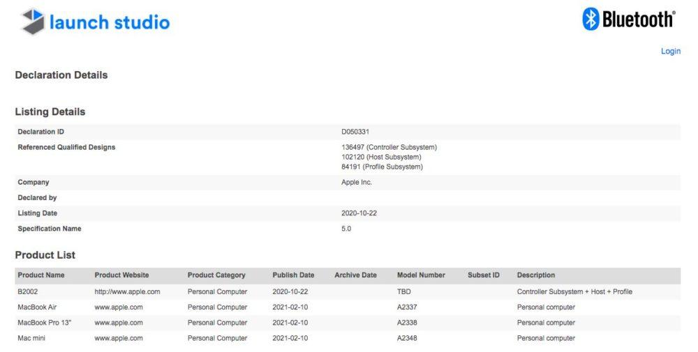 Mac M1 Certification Bluetooth Apple enregistre les Mac M1 dans la base de données lorganisme du Bluetooth, un mystérieux B2002 répertorié
