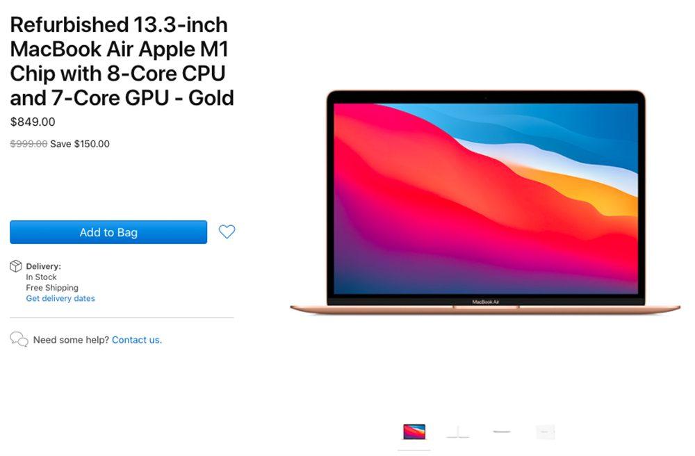 MacBook Air M1 Reconditionne Apple commence à vendre les premiers MacBook Air M1 reconditionnés (aux États Unis)