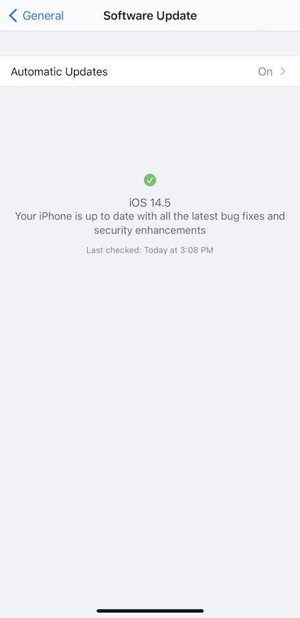 iOS 14.5 Beta 1 Section Mise A Jour Installee Evoluee iOS 14.5 bêta 1 : voici la liste des nouveautés retrouvées