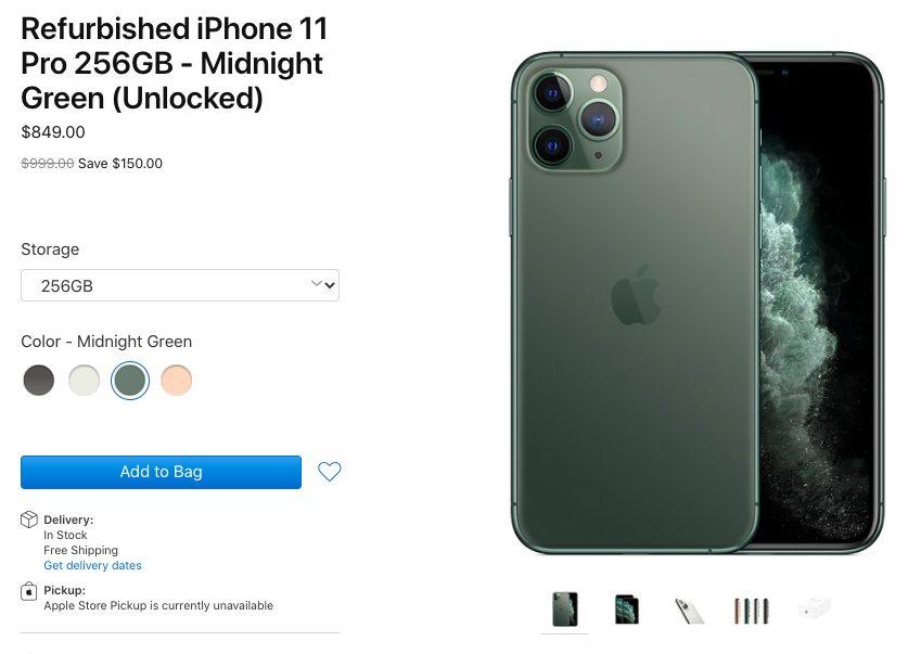 iPhone 11 Pro 256GB Reconditionne Vert Nuit Apple vend des iPhone 11 et 11 Pro/Max reconditionnés (aux États Unis)