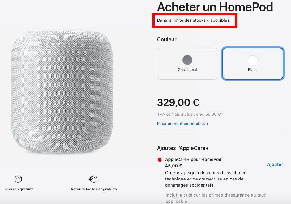 Enceinte HomePod Apple Store Abandon Apple annonce labandon du HomePod original, le premier modèle donc