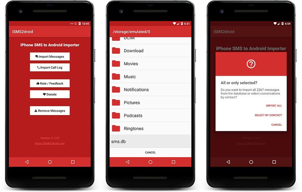 android isms2droid 1 Comment faire le transfert de ses contacts, photos et autres données dun iPhone vers Android ?