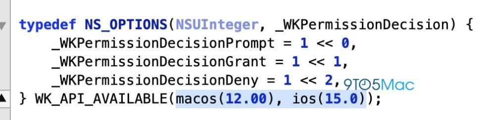 iOS 15 WebKit Apple fait référence à iOS 15 et à macOS 12 dans le code WebKit